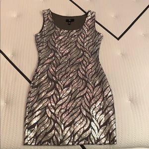 Sequin Leaf Pattern Aqua Mini Dress Size S